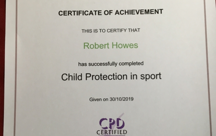 Rob Howes - Cert Child Protection in Sport