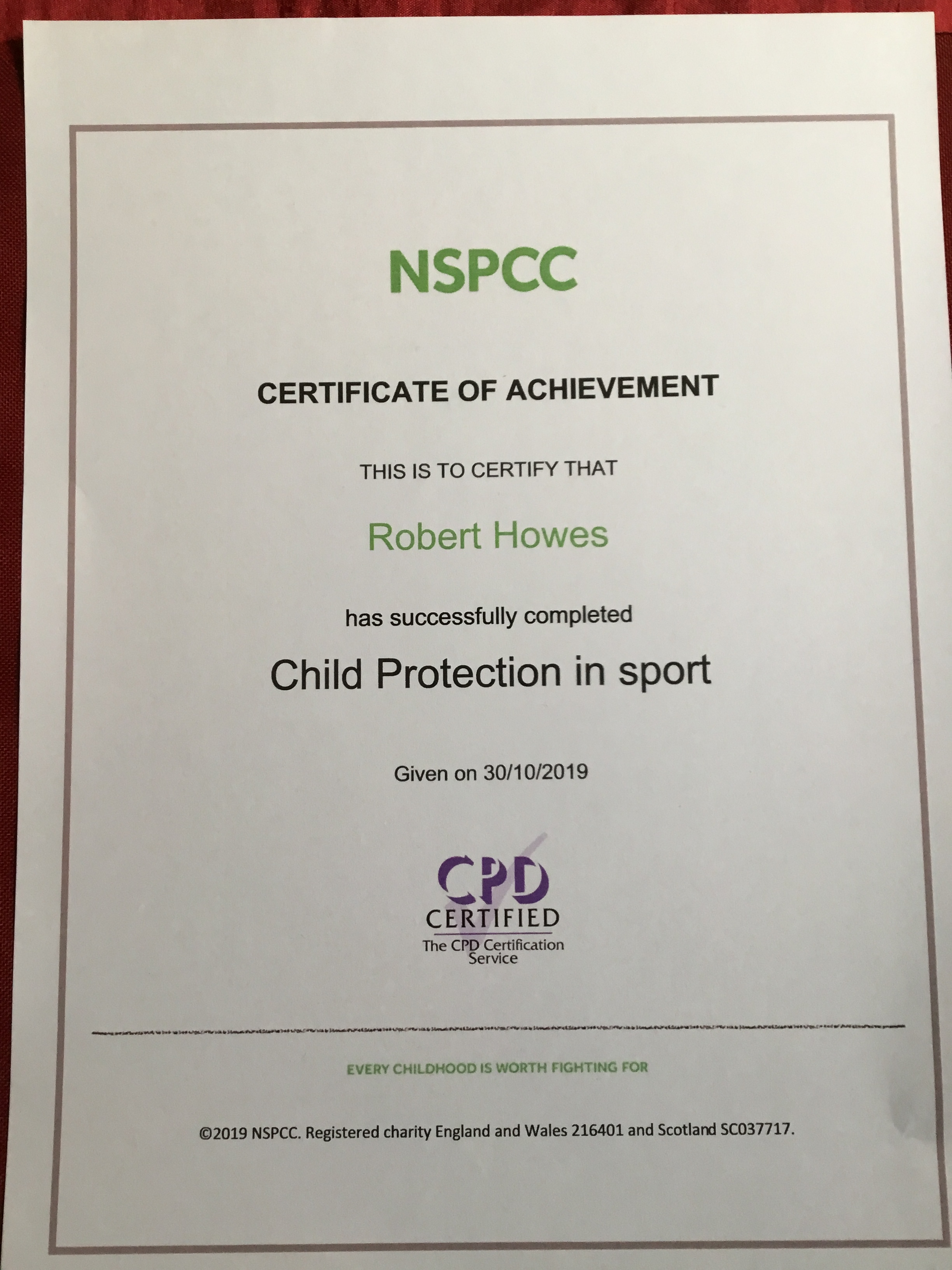 Kyoshi Rob Howes – Certificate – Child Protection in Sport